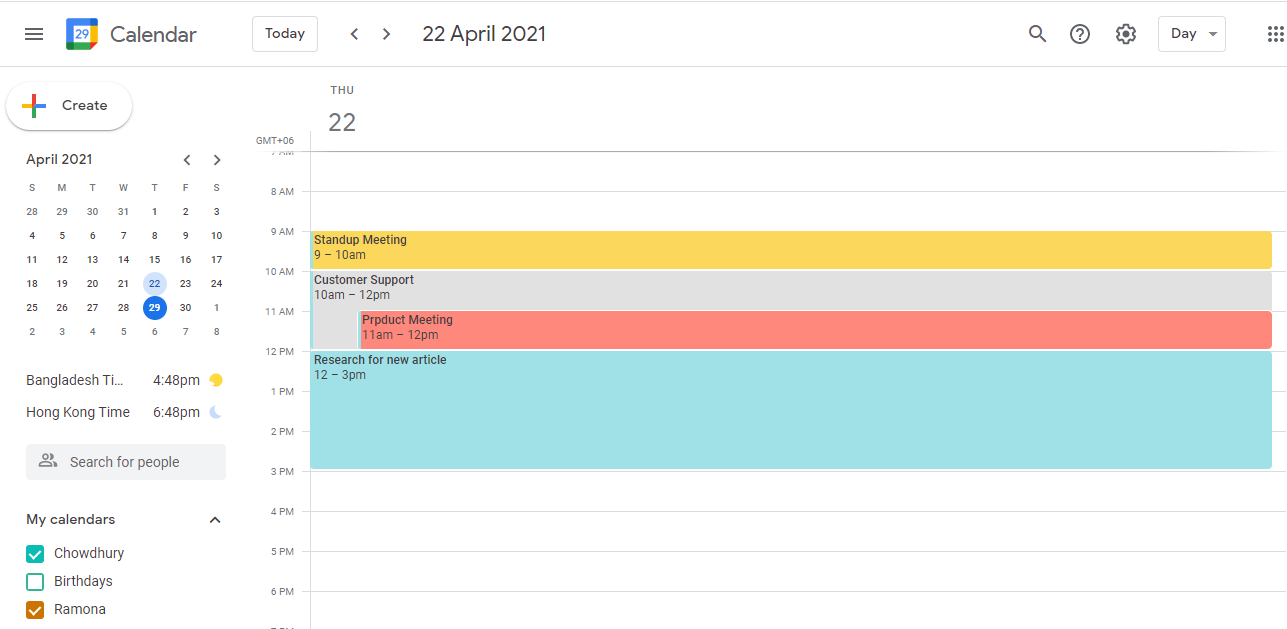 Google Calendar is a free cloud-based tool that you can use with your Google account. Since it is also cloud-based, many other Google users can also collaborate on it if you send them an invite. You can also create multiple calendars for different projects. On each calendar, you can then input tasks and details. You can also assign it to fellow Google users. You can also set reminders for each task so that you can keep track.