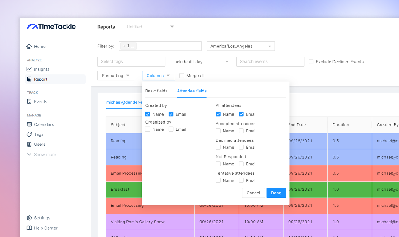 create attendance reports