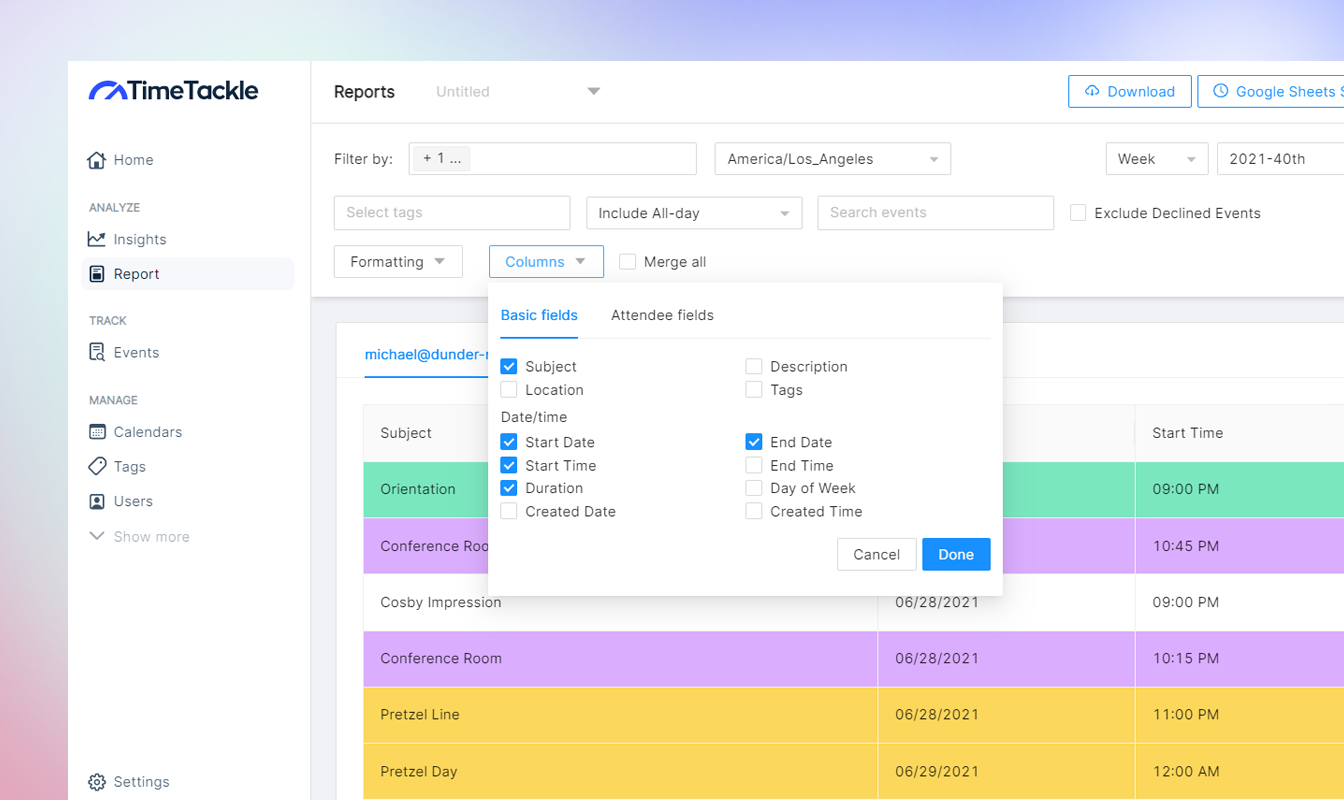 get customized fields for your calendar