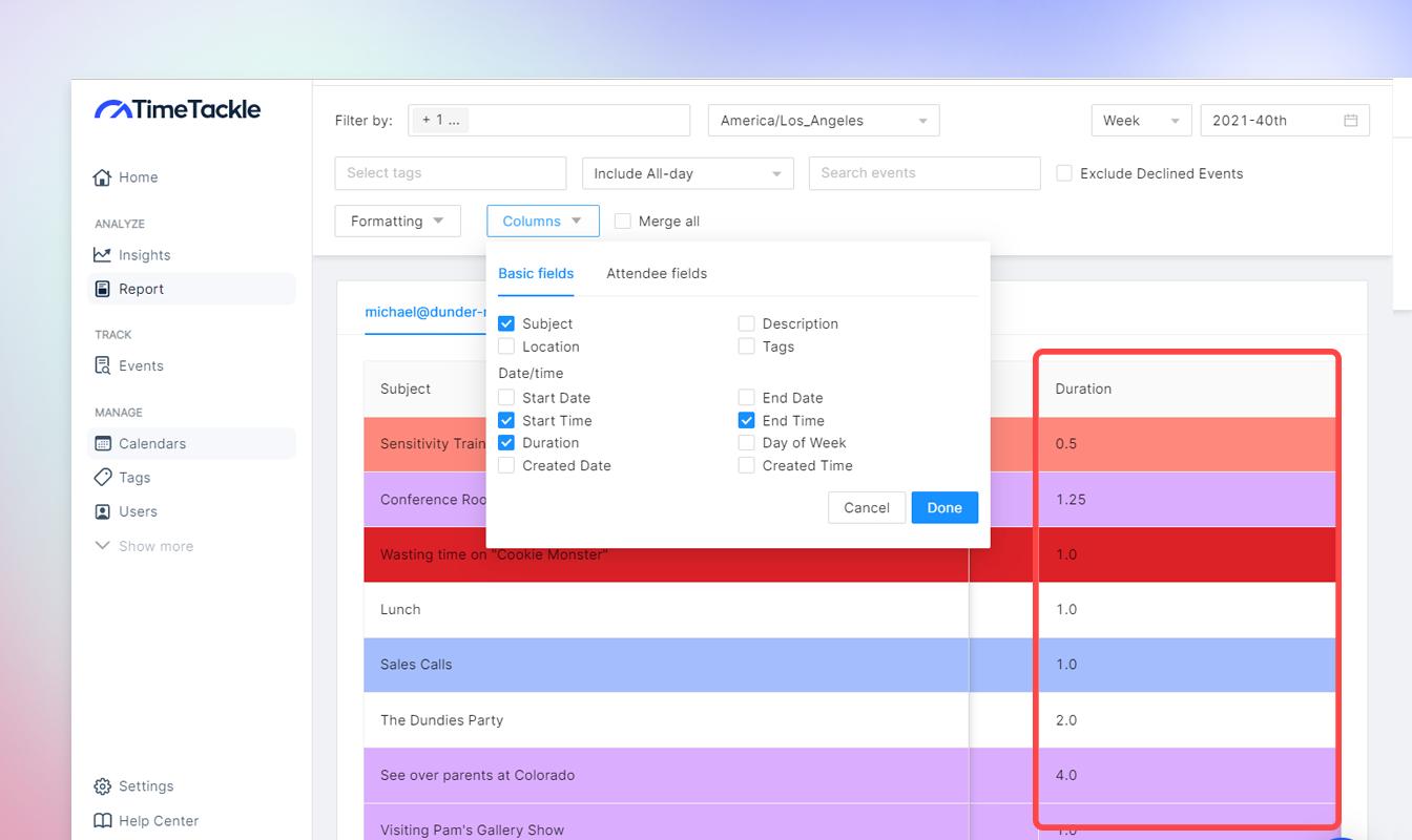 track with google calendar