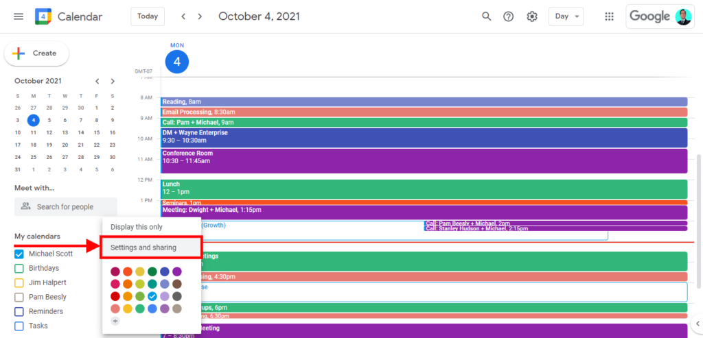 How to merge multiple google calendar, How to share your Google Calendar; Click on the Settings and Sharing option.