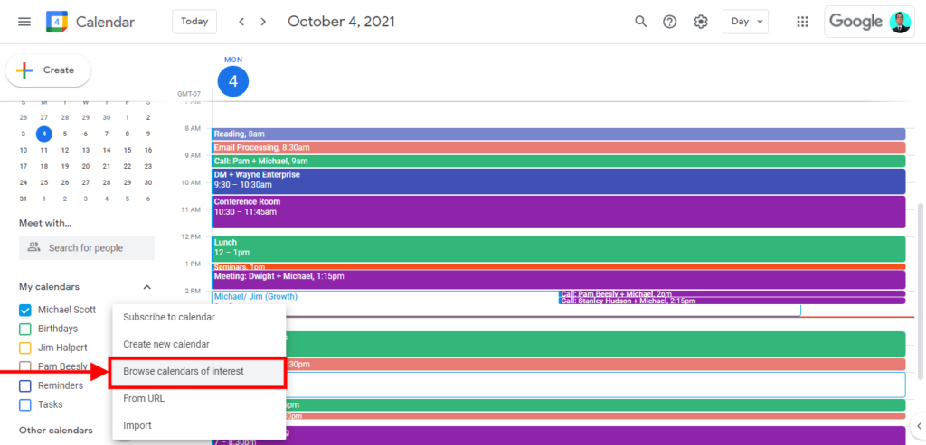 How to merge multiple google calendar, To add public calendars, you need to click the + sign beside Other calendars and select the Browse calendars of interest option.