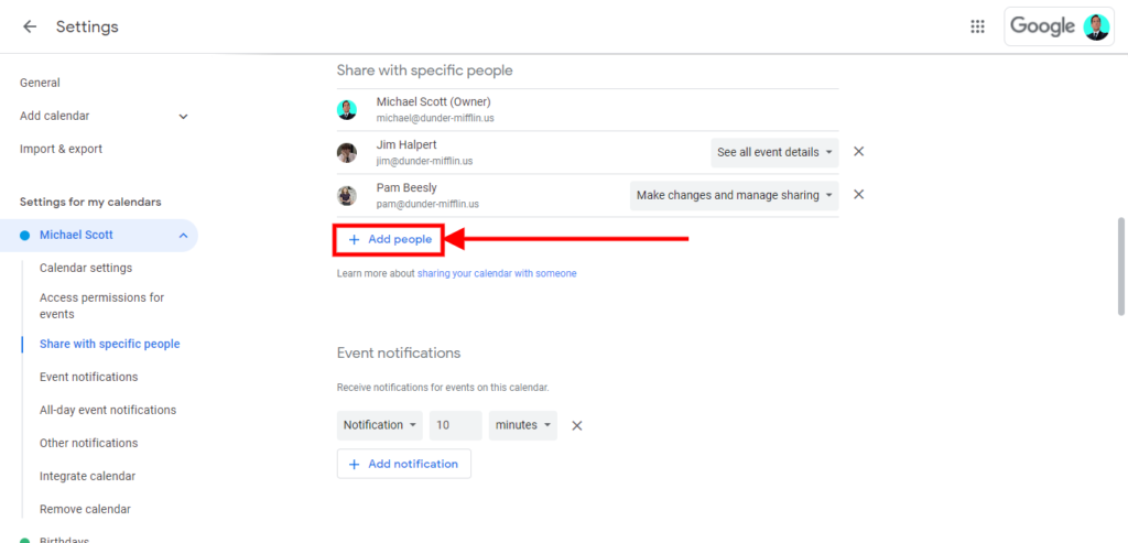 """how to merge multiple google calendars, How to share your Google Calendar; Step 4: Select """"Add People"""", write their email address, and set the permissions."""