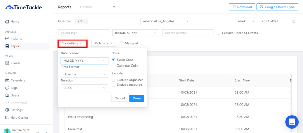 """how to merge multiple google calendar; Exporting Multiple Google Calendars With TimeTackle; Using the """"Formatting"""" section you can also customize your data formats in the way that works best for you."""
